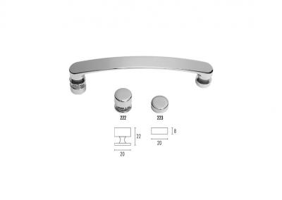 Art. LNK-520PB – Maniglia doppia con pomolo e borchia interasse 160